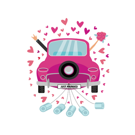 Illustration pour Newlywed couple is driving vintage pink car for their honeymoon and cans attached. Bride groom car with hand with bouquet sticking out of window . Vector flat cartoon round concept with many hearts - image libre de droit