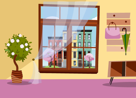 Window With View Of Blooming Trees And Multicolored Multi Party Cozy Houses Spring Brown Interior With Tree In Tub Umbrellas On Hanger Cityscape In Blossom Outside Flat Cartoon Vector Illustration Tasmeemme Com No more sugar maples till you finish your evergreen! window with view of blooming trees and