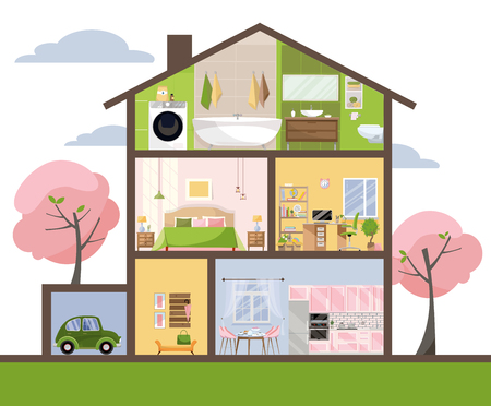 Illustration pour House in cut. Detailed interior. Set of rooms with furniture. Cross section with bedroom, living room, kitchen, dining, bathroom, nursery, garage. Home inside. Flat cartoon style vector illustration. - image libre de droit