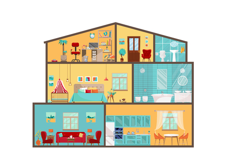 Illustration pour House model from inside. Detailed interiors with furniture and decor in flat vector style. Big House in cut. Cottage cutaway with interiors of rbedroom, living room, kitchen, dining, bathroom, nursery - image libre de droit