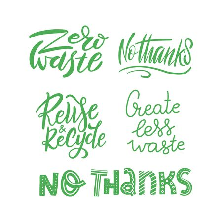 Illustration for Sticker set template with hand drawn vector lettering. Unique phrases about eco, waste management. Motivational quote for choosing eco friendly lifestyle, using reusable products. Modern typography. - Royalty Free Image