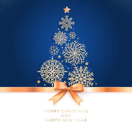 Photo pour Christmas and New Year. Vector greeting card with Christmas tree of glittering snowflakes and golden bow. - image libre de droit
