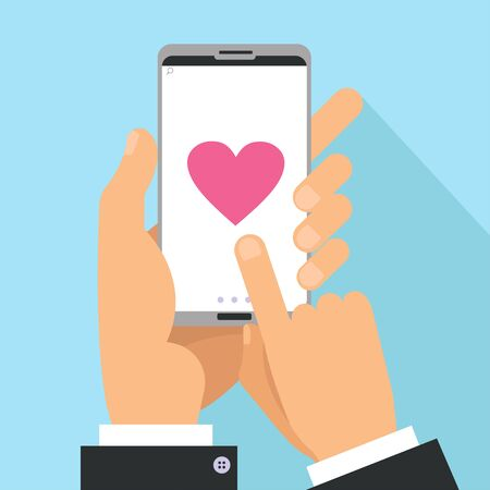Illustration pour Love sharing concept. Male Hands holding phone with big heart on screen. Finger touch screen. Vector flat cartoon illustration for valentine s day - image libre de droit