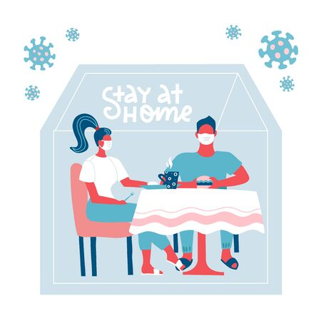 Family sitting at the table at home hiding from virus. Stay home during the coronavirus epidemic. COVID-19 outbreak, quarantine concept. Virus outside silhouette of house. Flat vector illustration.
