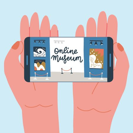 Illustration pour Museum exhibit online concept. Contemporary art gallery. Hands with phone with exibition app on screen. Colorful vector flat illustration with lettering. Home hobby for self isolation. - image libre de droit