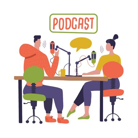 Illustration pour People recording podcast in studio flat vector illustration. Radio host interviewing guests on radio station cartoon characters. Young DJ, man and woman in headphones talking. Broadcasting - image libre de droit