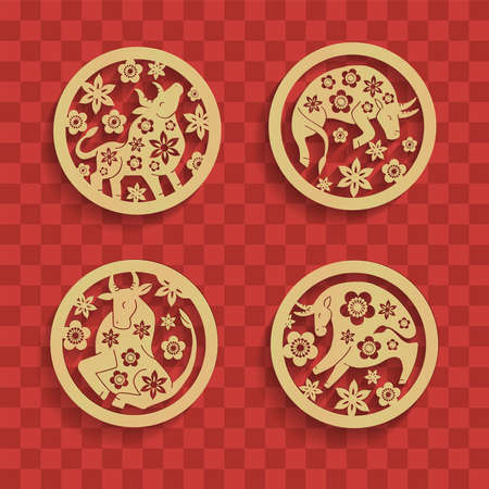 Photo for Set of Chinese characters zodiac elements, golden bulls in circle with flowers. Traditional Chinese ornament in golden round frame. Zodiac animals collection. Vector graphics to design. - Royalty Free Image
