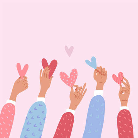 Illustration pour Male or female hands holding hearts. The concept of volunteering or love. St Valentine s banner. Flat vector cartoon illustration. Donations or voting poster or banner. - image libre de droit