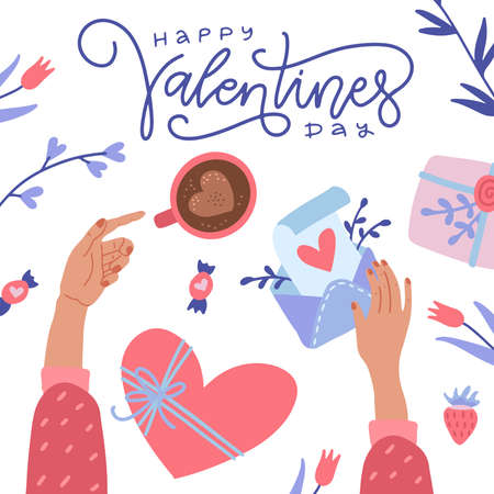 Illustration pour Happy Valentine s Day greeting card. Twofemale hands holding coffee and love letter envelope. Top view of desk. Flat cartoon colorful vector illustration for Invitation, greetings, posters, banner. - image libre de droit
