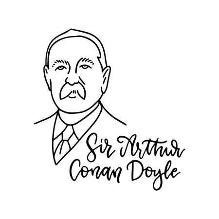Illustration pour Arthur Conan Doyle linear sketch portrait of the famous English writer with lettering inscription of his name. Flat vector illustration. - image libre de droit
