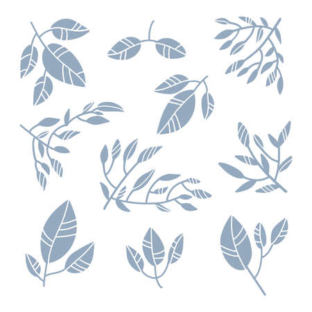 Illustration pour Abstract leaves collection. Minimalistic art set in pastel colors. Design elements for wall art, social media, posters, stickers and invitations. Modern vector illustration in flat style. - image libre de droit