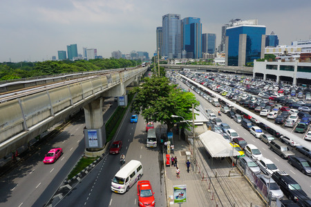 BTS Skytrain on elevated rail above Sukhumvit Road as the BTS network celebrates its 10th anniversary of operations in the Thai capital in Bangkok, Thailand.