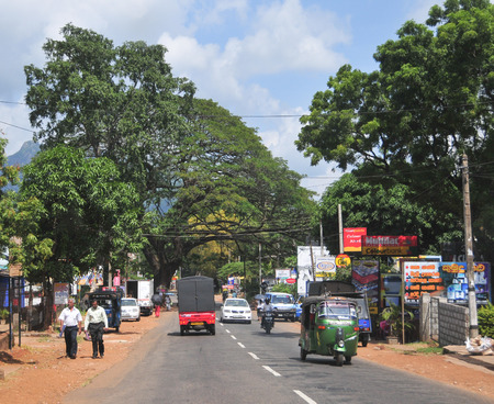 KANDY, SRI LANKA - MARCH 25, 2015. View of Kandy street, Sri Lanka. Kandy is famous because of its Tooth Relic Temple where Buddha's tooth is being kept.
