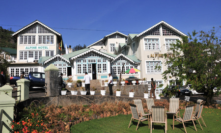 Old English colonial style houses in the holiday Nuwara Eliya town on Sri Lanka.