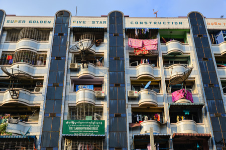 Yangon, Myanmar - Feb 1, 2017. An apartment located in Yangon, Myanmar. Yangon is the country's main centre for trade, industry and tourism.