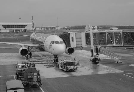Kuala Lumpur, Malaysia - Dec 16, 2015. An AirAsia aircraft on runway at the KLIA Airport in Kuala Lumpur, Malaysia. In 2015, KLIA handled 48,938,424 passengers and 726,230 tonnes of cargo.