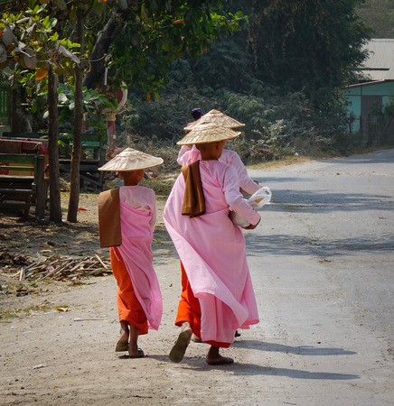 Buddhist nuns walking for morning alms at countryside in Mandalay, Myanmar.
