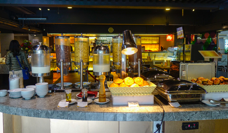 Bangkok, Thailand - Jun 18, 2017. Interior of buffet restaurant in Bangkok, Thailand. Many dishes that are now popular in Thailand were originally Chinese dishes.