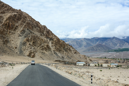 Mountain road in Ladakh, India. Ladakh is one of the most sparsely populated regions in Jammu and Kashmir.
