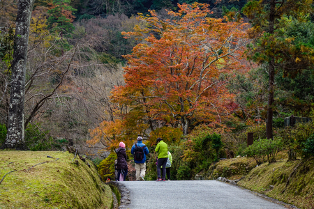 Kyoto, Japan - Nov 28, 2016. People walking at Arashiyama Park in Kyoto, Japan. Arashiyama is a nationally designated Historic Site and Place of Scenic Beauty.