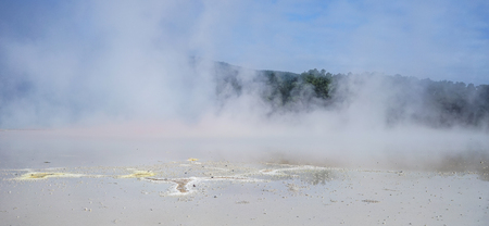 Hot water on the pond at Taupo Volcanic Zone on the North Island in New Zealand.