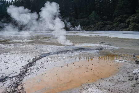 Taupo Volcanic Zone at summer day on the North Island in New Zealand.
