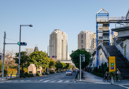 Tokyo, Japan - Jan 4, 2016. Street of Odaiba District in Tokyo, Japan. Odaiba is a popular shopping and entertainment district on a man made island.
