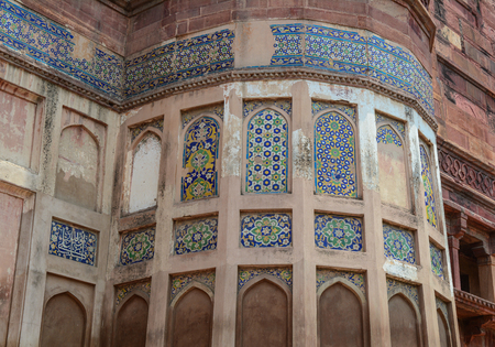 Details of Agra Fort in Agra, India. The fort was built by the Mughals can be more accurately described as a walled city in Agra, India.