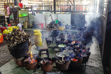 An Giang, Vietnam - Sep 2, 2017. Interior of traditional kitchen in An Giang, Vietnam. An Giang is a province in southern Vietnam, bordering Cambodia.