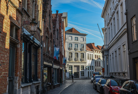Photo for Bruges, Belgium - Oct 5, 2018. Old buildings in Bruges, Belgium. Bruges (Brugge) is Belgium most perfectly preserved medieval town. - Royalty Free Image