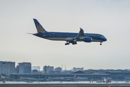 Saigon, Vietnam - May 3, 2019. VN-A871 Vietnam Airlines Boeing 787-9 Dreamliner carrying the coffin of Former President Le Duc Anh.