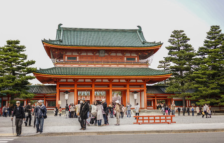 Kyoto, Japan - Nov 20, 2016. View of Heian Jingu Shrine in Kyoto, Japan. Built in 1895, Hei-an is listed as an important cultural property of Japan.