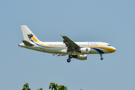 Bangkok, Vietnam - Sep 17, 2018. Myanmar Airways Int XY-AGR (Airbus A319) landing at Suvarnabhumi Airport (BKK) in Bangkok, Thailand.