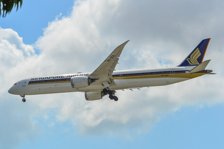 Singapore - Mar 26, 2019. 9V-SCH Singapore Airlines  787-10 Dreamliner landing at Changi Airport (SIN). Changi hits record 65 million passengers in 2018.