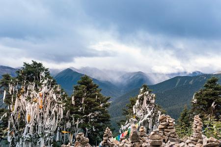 On the mountain, Mani stone piles