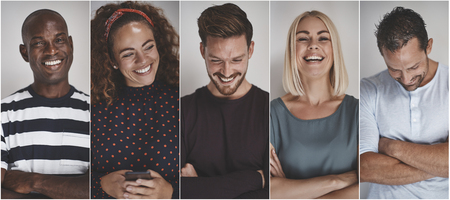 Photo pour Collage of a group of ethnically diverse young entrepreneurs laughing while standing against a gray background - image libre de droit