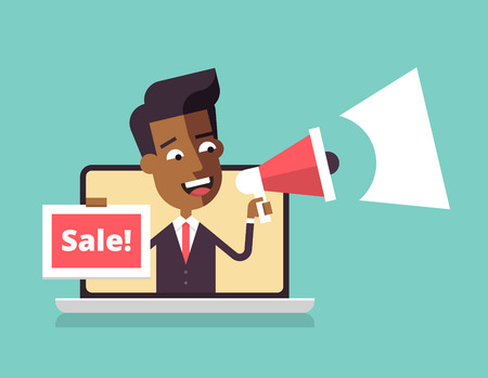 Illustration pour The black man is leaning out of a laptop screen and speaking in a megaphone. Concept for social media, website or print. Vector illustration in flat design. - image libre de droit
