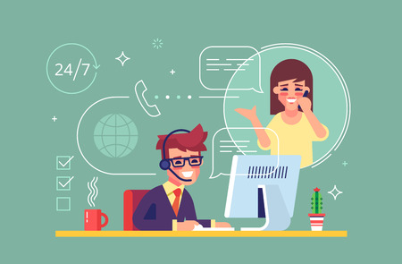Illustration pour Happy male helpline operator with headset consulting a client. Online global tech support 24/7. Operator and customer. Technical support concept. Vector illustration in flat design. - image libre de droit