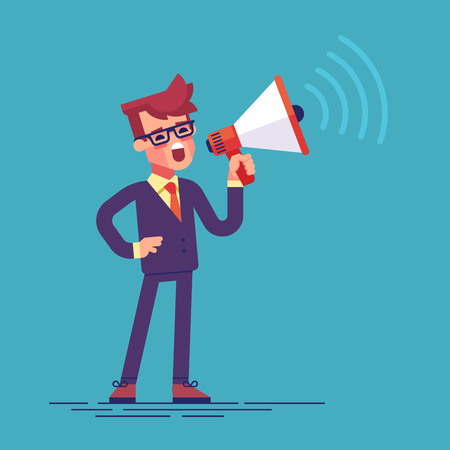 Illustration pour Businessman holding megaphone and shouting in it. - image libre de droit