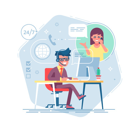 Illustration pour Happy male helpline operator with headset consulting a client. Online global tech support 24 7. Operator and customer. Technical support concept. Vector illustration in flat design. - image libre de droit