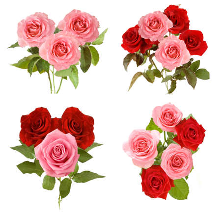 Photo pour Beautiful roses bunch set isolated on white background - image libre de droit