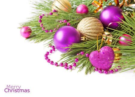 Photo pour Cristmas greeting card with new year balls, merry christmas and happy new year concept - image libre de droit