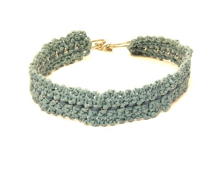 Hand worked crocheted dog collar out of a chain of metal