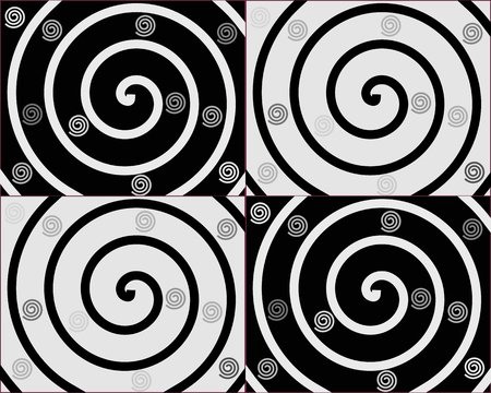 Details of spirals on black and white backgrounds