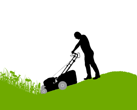 Man with lawn-mower