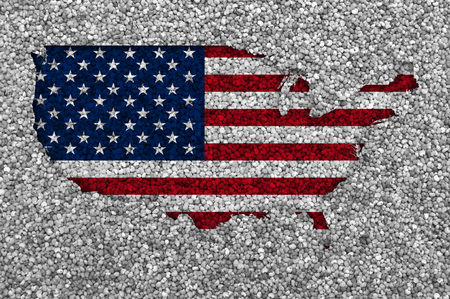 Map and flag of the USA on poppy seeds