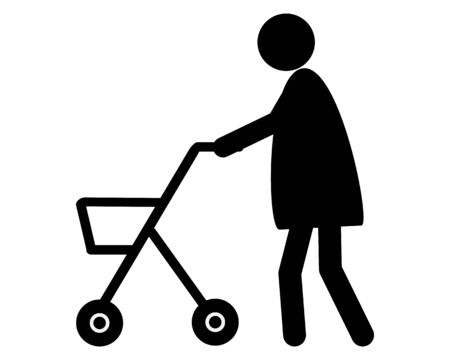 Old woman walking with rollator