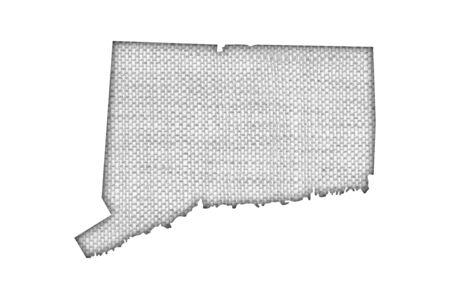Photo pour Map of Connecticut on old linen - image libre de droit