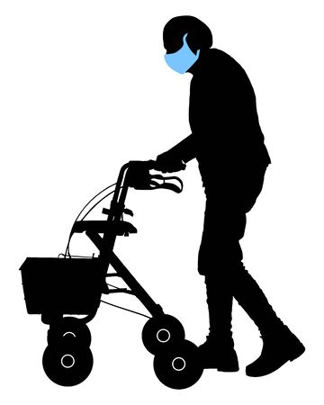 Senior person with face mask and rollator