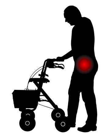 Man with hip pain and rollator
